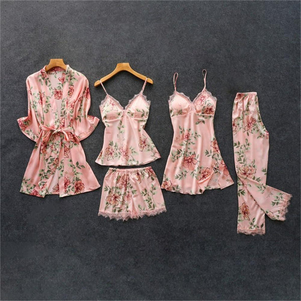 Floral Pyjama Set - Satin Lace Trim - 5 Pieces