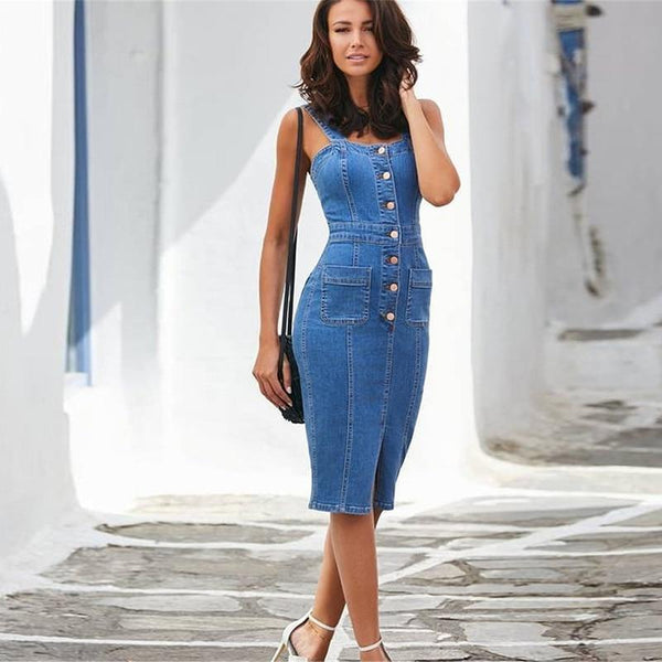 Denim Bodycon Dress - Button Through Midi Dress