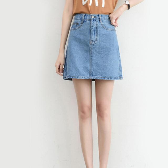 Plus Size Denim Mini Skirt - High Waist A-Line Skirt