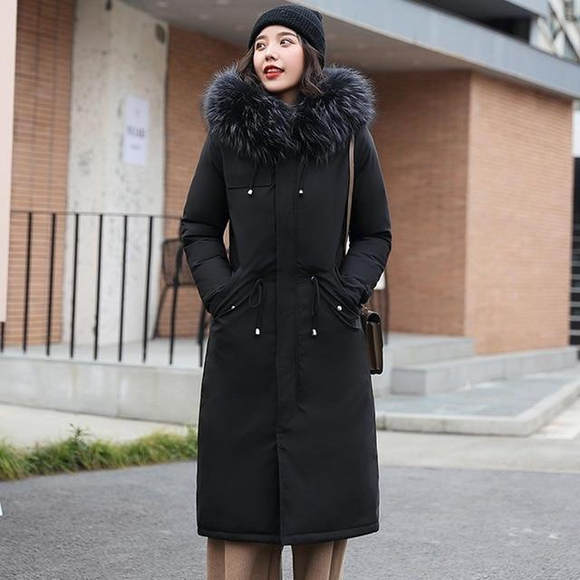 Faux Fur Lined Coat - Long Parka With Faux Fur Hood