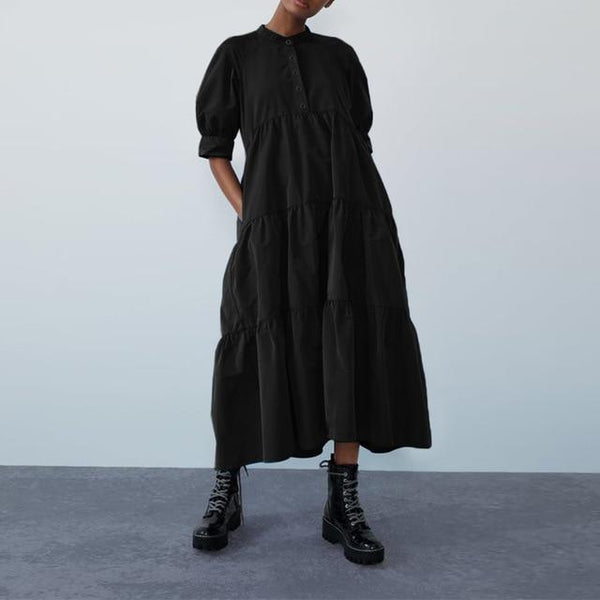 Puff Sleeve Smock Tiered Maxi Dress - Plus Size Dress