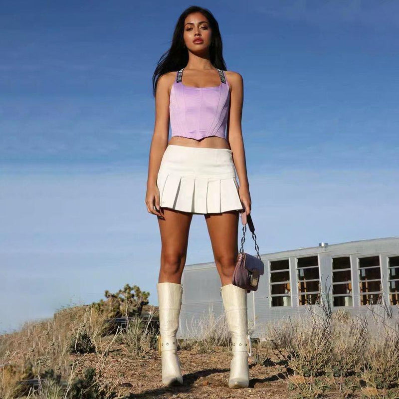 Pleat Mini Skirt - High Waist Tennis Style Skirt
