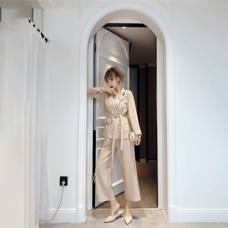 Oversized Belted Trouser Suit - Wide Leg Trouser & Blazer Suit