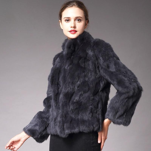 Short Faux Fur Coat With High Collar