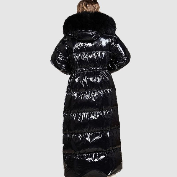 High Shine Puffer Coat - Plus Size Extra Long Puffer Coat With Faux Fur Hood