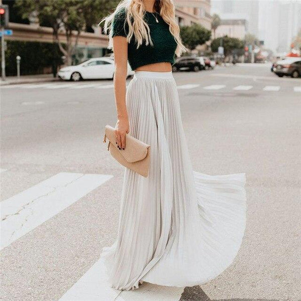 Pleated Maxi Skirt - Plus Size