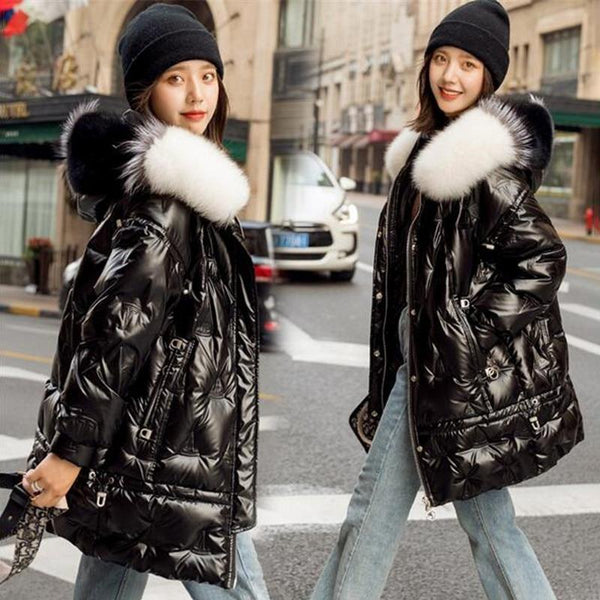 Winter Duck Down Coat - Hooded Big Fur Shiny Puffer Coat