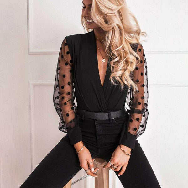 V-neck Transparent Sleeve Polka Dot Mesh Top