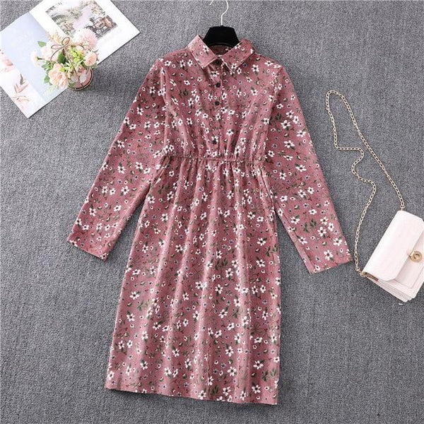 Ditsy Floral Print Midi Corduory Dress With Long Sleeves