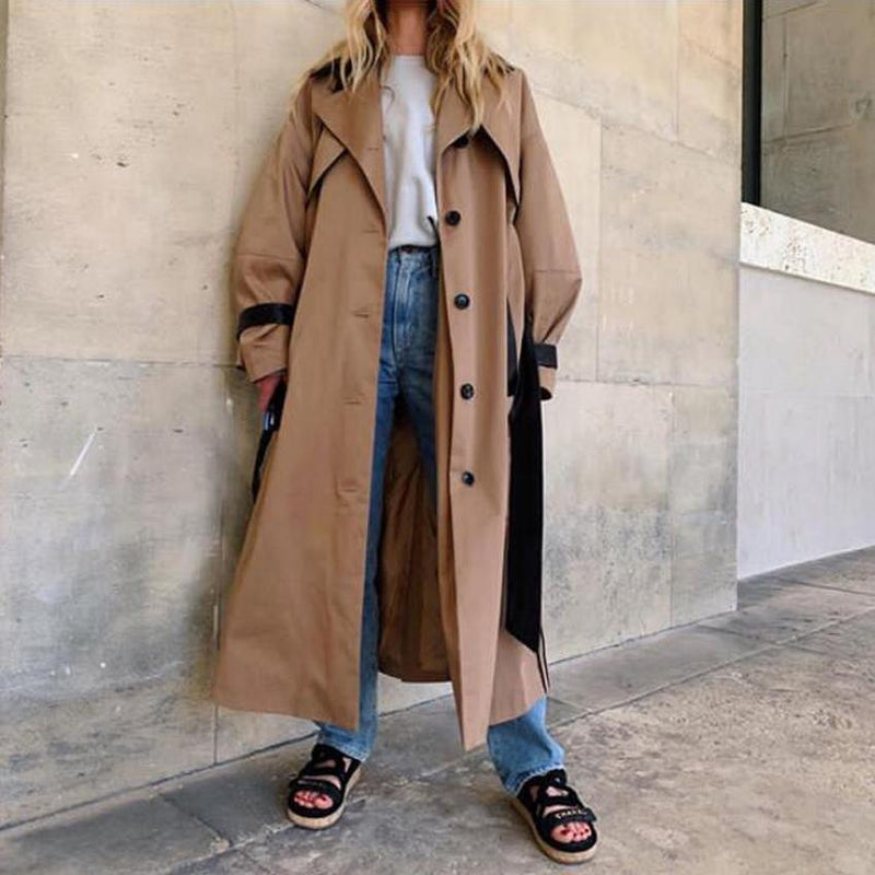 Contrast Extra Long Trench Coat With Belt