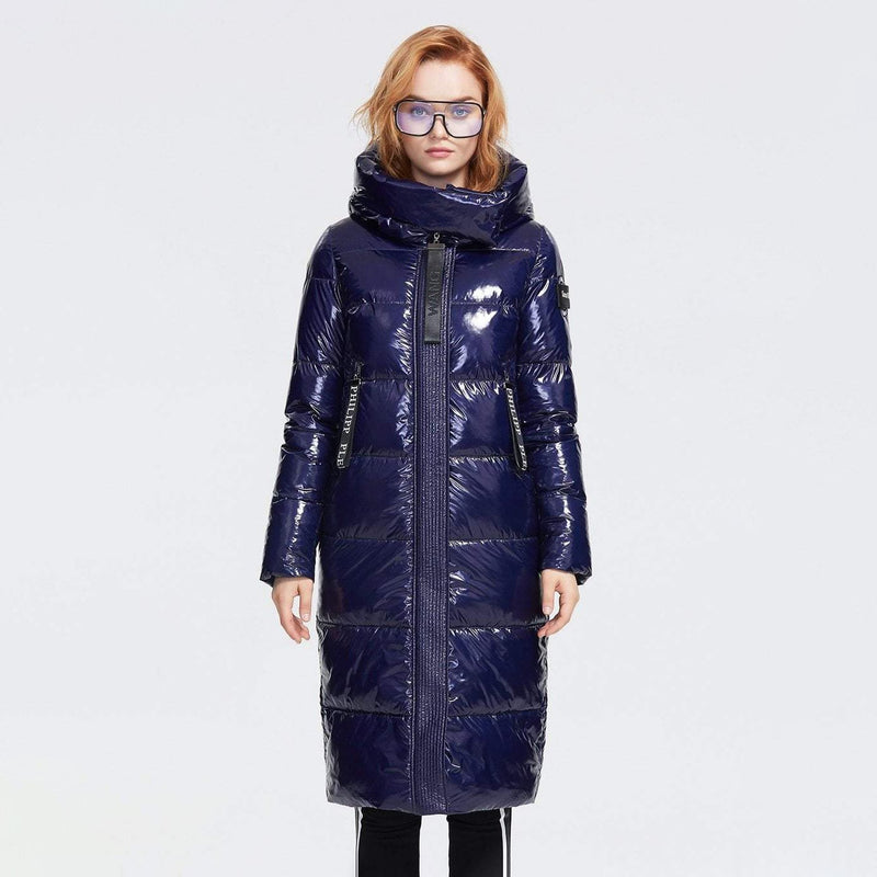 Glossy Down Puffer Jacket With Hood