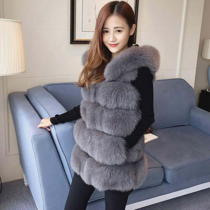 Sleeveless Faux Fur Hooded Coat