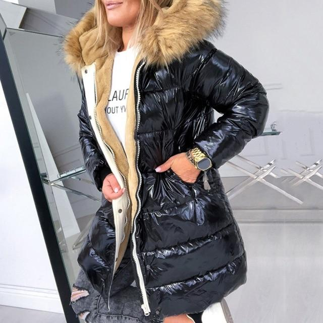 High Shine Puffer Jacket With Faux Fur Hood