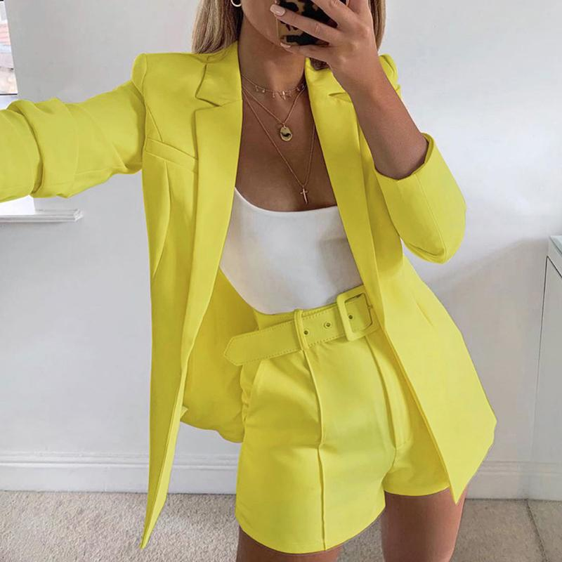 Shorts Suit Set - Blazer and Belted Shorts
