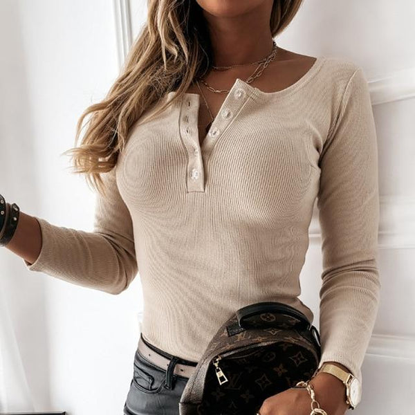 V-Neck Button Up Front Long Sleeve Top