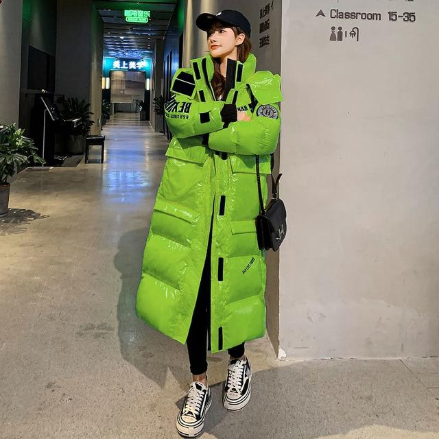 Extra Long High Shine Puffer Jacket With Hood & Arm Patch