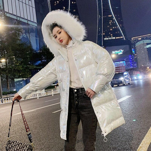 Glossy High Shine Jacket With Faux Fur Hood