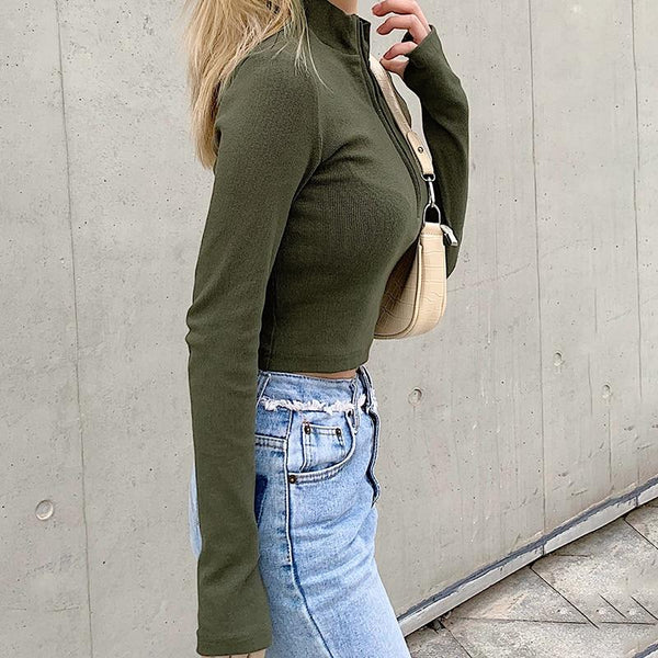 Turtleneck Rib Knit Zip Up Crop Top