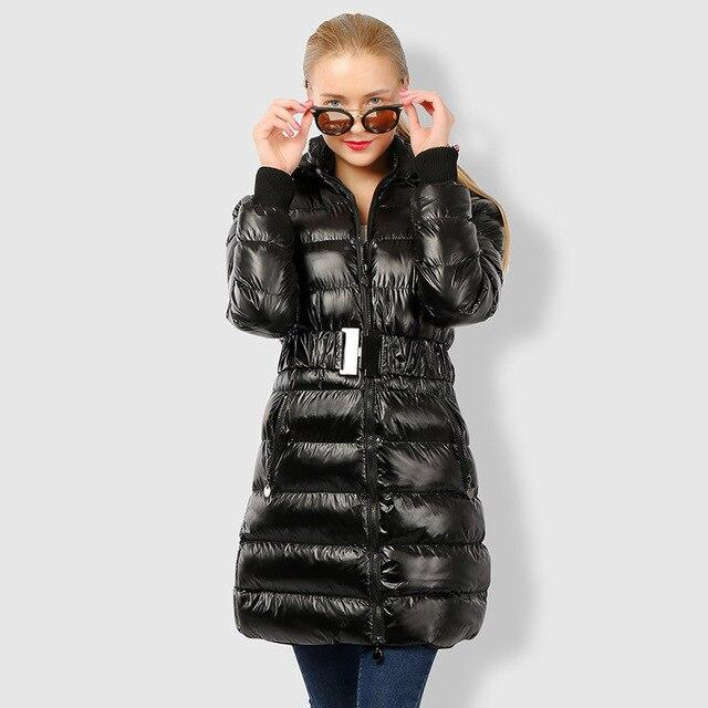 Down Puffer Jacket Belted With Hood