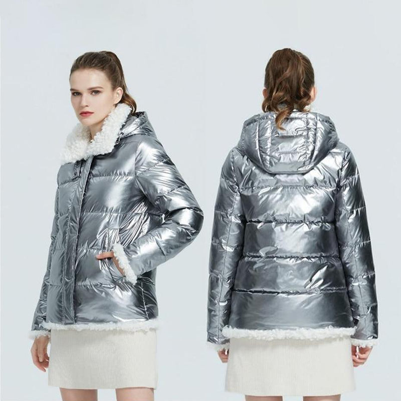 Faux Lambswool Trim Metallic Puffer Jacket With Removable Hood