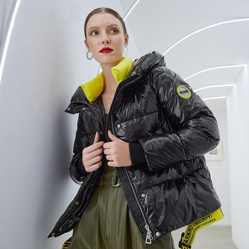 Hooded Shiny Puffer Coat - Short Coat With Waist Clip
