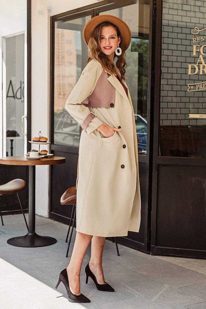 Long Double Breasted Trench Coat With Contrast Belt