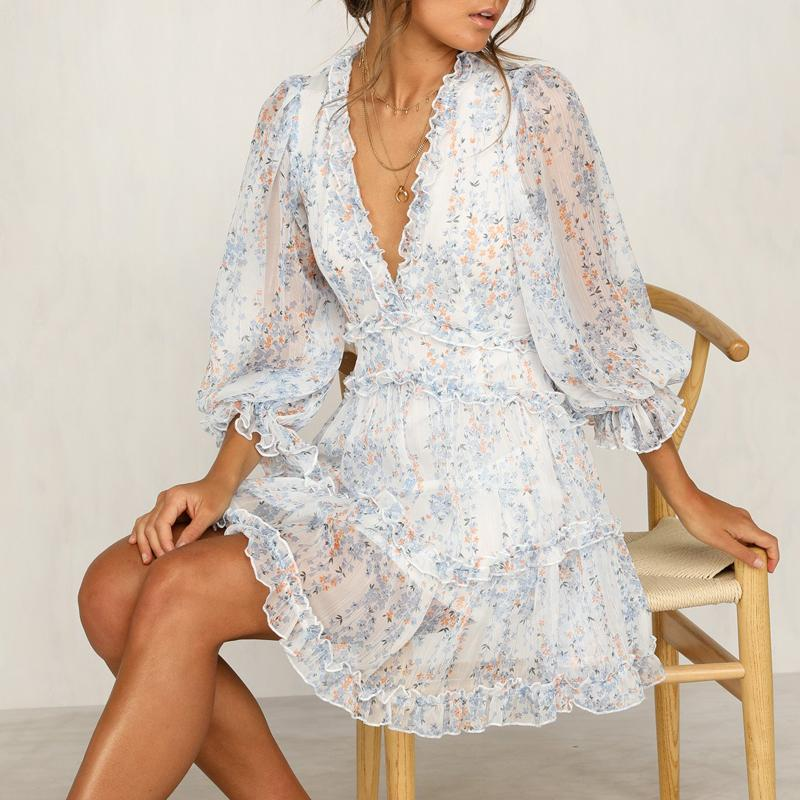 Cutout Back Mini Ruffle Dress - Boho Floral Inspired Dress With Long Sleeves