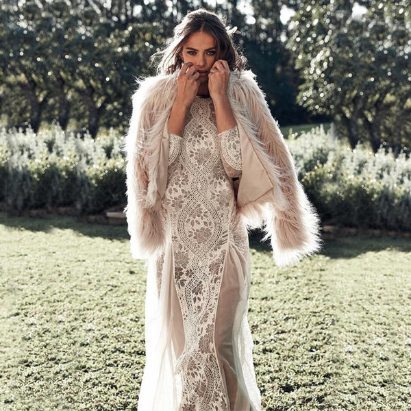 Backless Long Sleeve Lace Maxi Dress