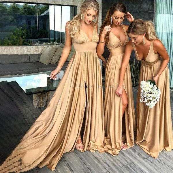 Backless Bridesmaid Dress - Maxi V-neck Dress with Front Split
