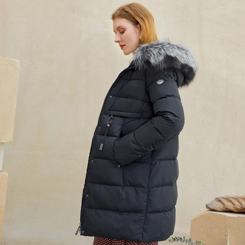 Winter Coat With Faux Fur Hood With Zip & Button Closure