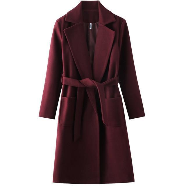Belted Wool Blend Trench Coat