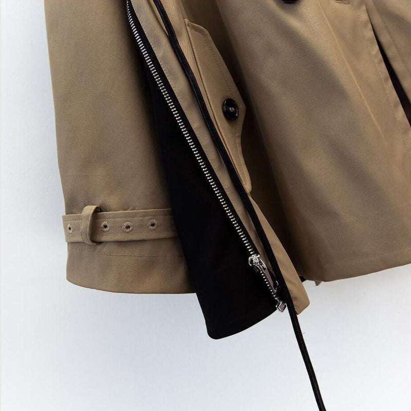Classic Short Double Breasted Trench Coat