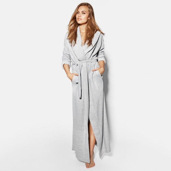 Microfiber Fleece Maxi Dressing Gown - Plus Size Dressing Gown