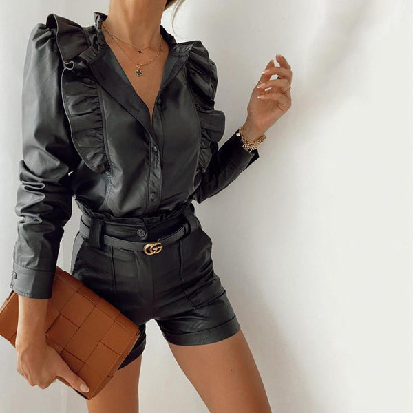 Faux Leather Button Up Ruffle Shirt - Long Sleeve Leather Look Shirt with Ruffles