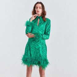 Feather Trim Dress-  Long Sleeve Feather Mini Dress