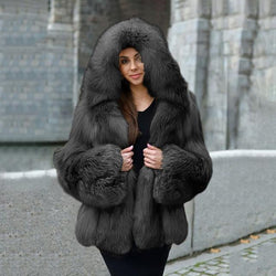 Luxury Extra Thick Faux Fur Coat With Hood