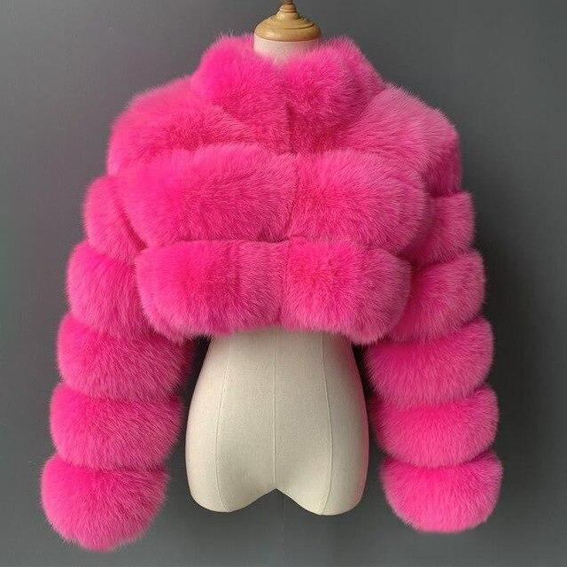 Plus Size Short Faux Fur Coat With Turn Down Collar
