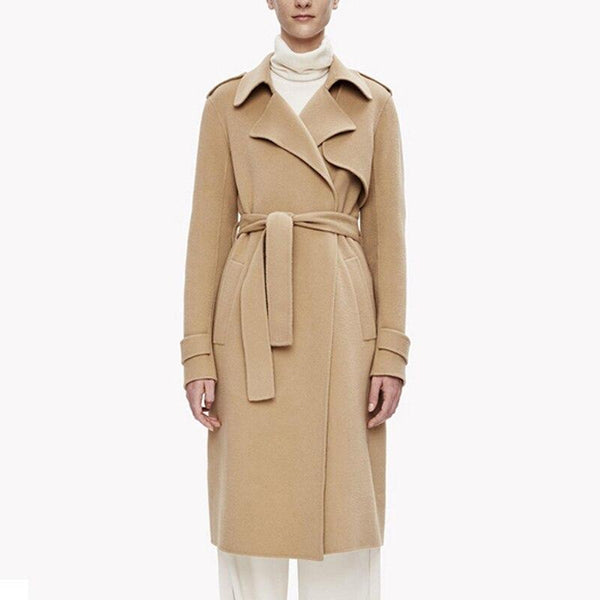 Long Belted Wrap Wool Coat