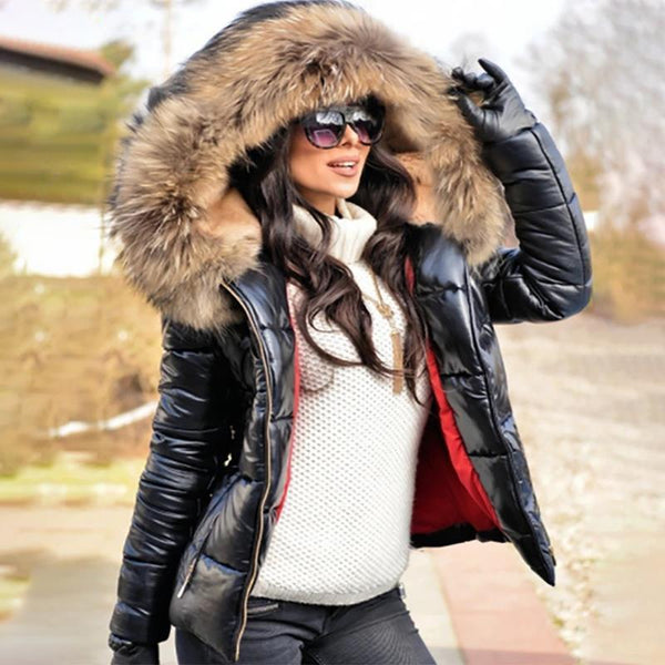 High Shine Parka Puffer Coat with Faux Fur Hood
