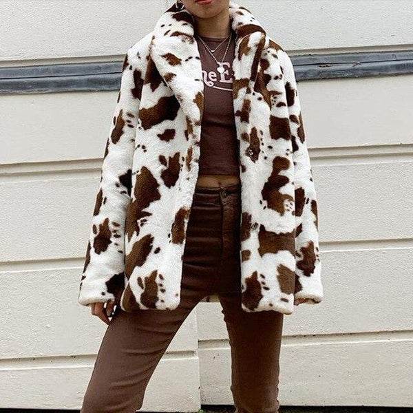 Cow Print Faux Fur Vintage Coat - Thigh Length Winter Coat