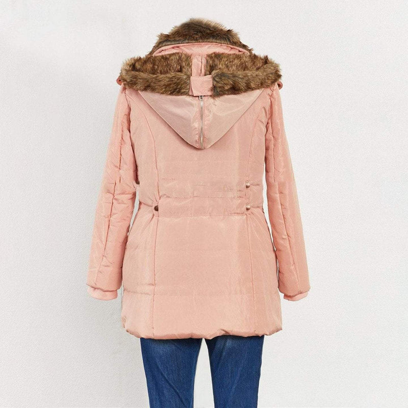 Padded Jacket With Faux Fur Hood & Pockets