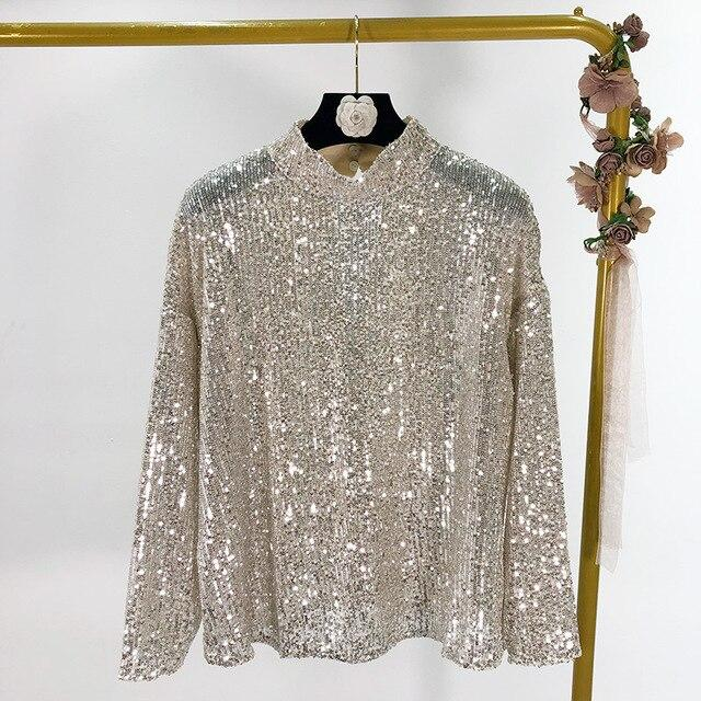 Sequin Long Sleeve Turtleneck Top
