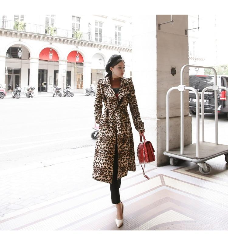 Leopard Print Trench Coat With Belt