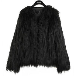 Shaggy Faux Fur Coat womens jackets - Ultamodan