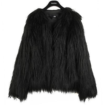 Shaggy Faux Fur Coat-womens jackets-Ultamodan-Black-S-Ultamodan