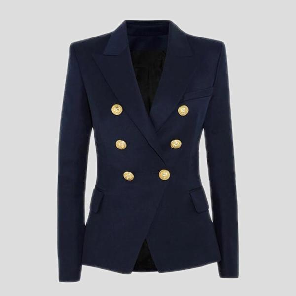 Double Breasted Designer Navy Blue Blazer Jacket