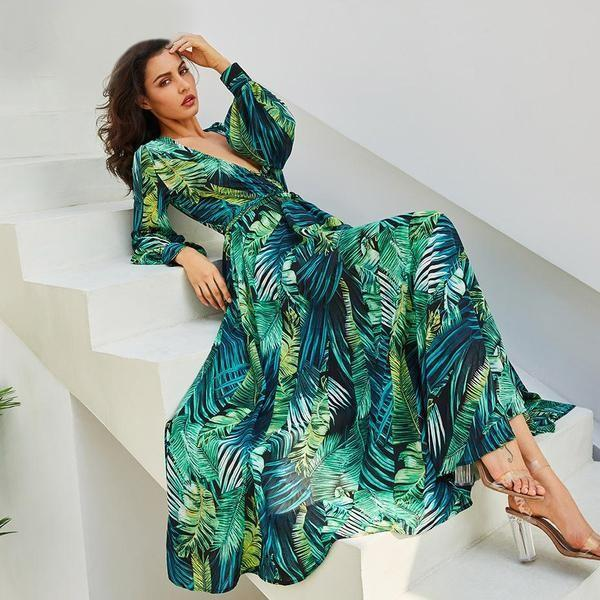 Long Sleeve Boho Summer Maxi Dress
