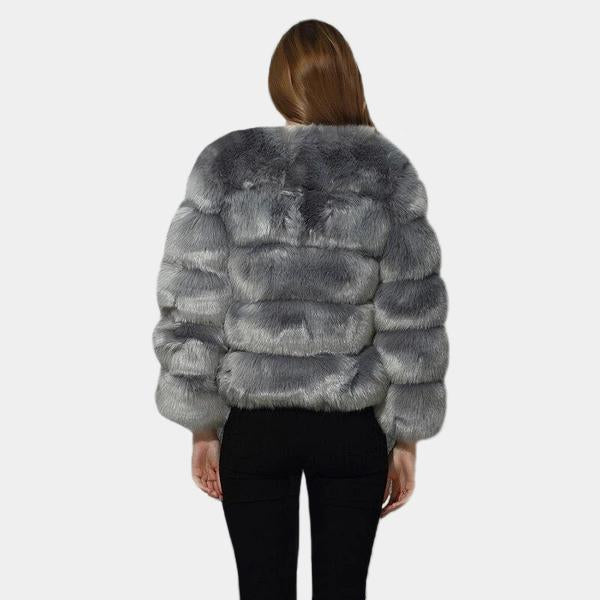Faux Fur Bubble Coat - Short Style