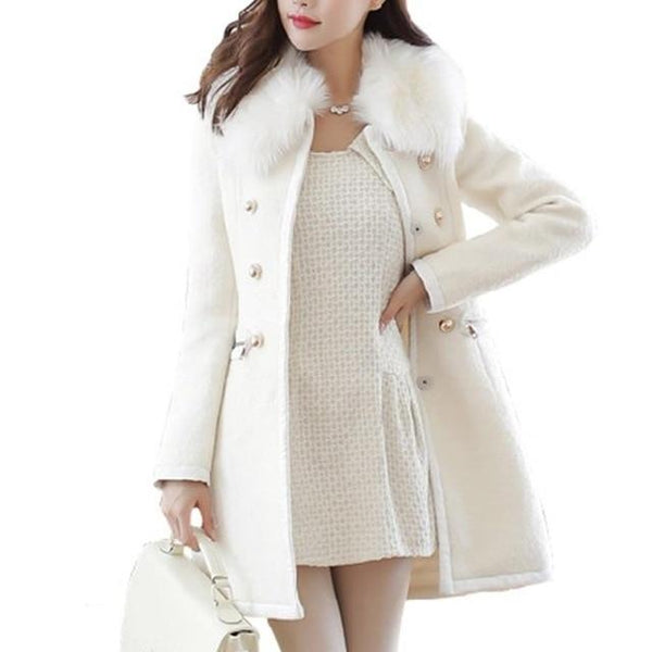 Double Breasted Wool Coat With Faux Fur Trim Collar