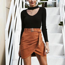 V-Neck Long Sleeve Wrap Crop Top